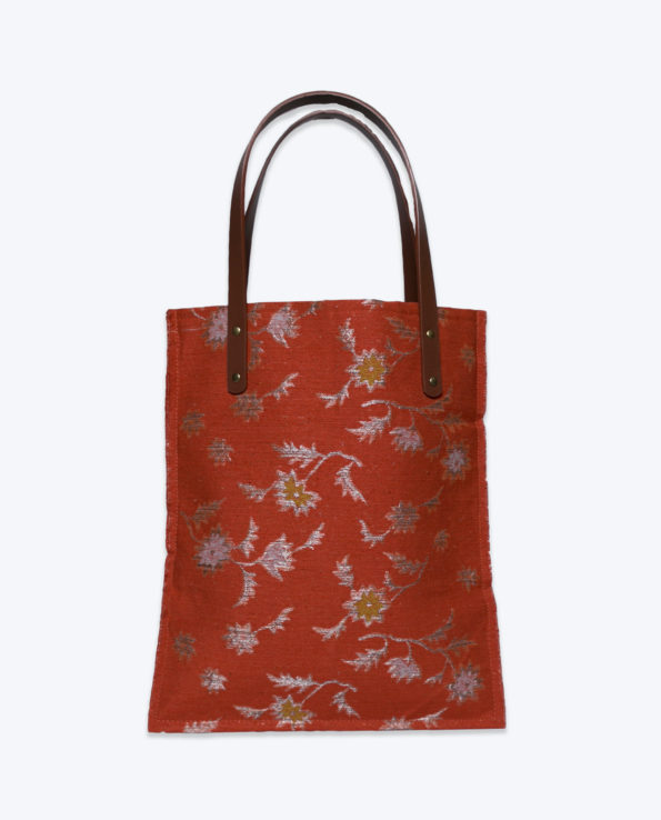 Rust and silver upcycled Japanese obi Tote bag