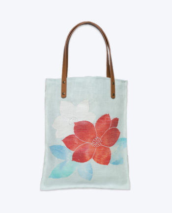 Mint linen Bellflower pattern Japanese Obi handmade Tote Bag