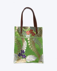 Green, gold, purple and red wisteria pattern upcycled vintage Japanese obi medium Tote