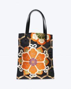 Black, orange, gold and black upcycled vintage Japanese Obi Tote bag