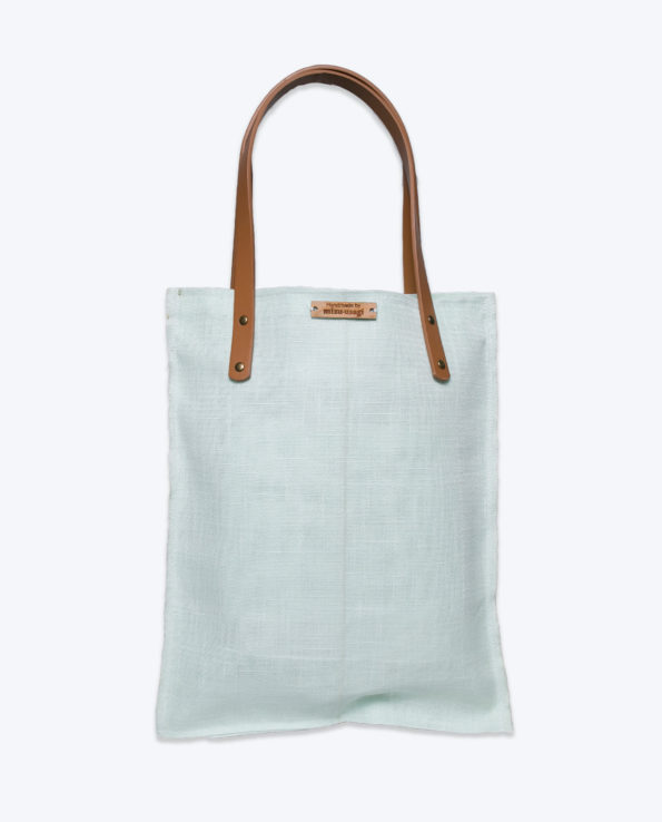 Mint upcycled Japanese Obi Tote bag (back image)
