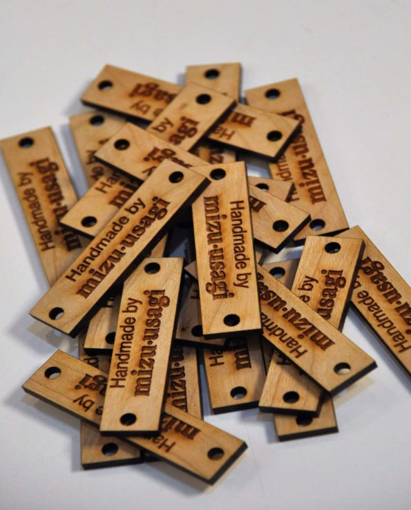 Handmade mizu usagi wooden round tags
